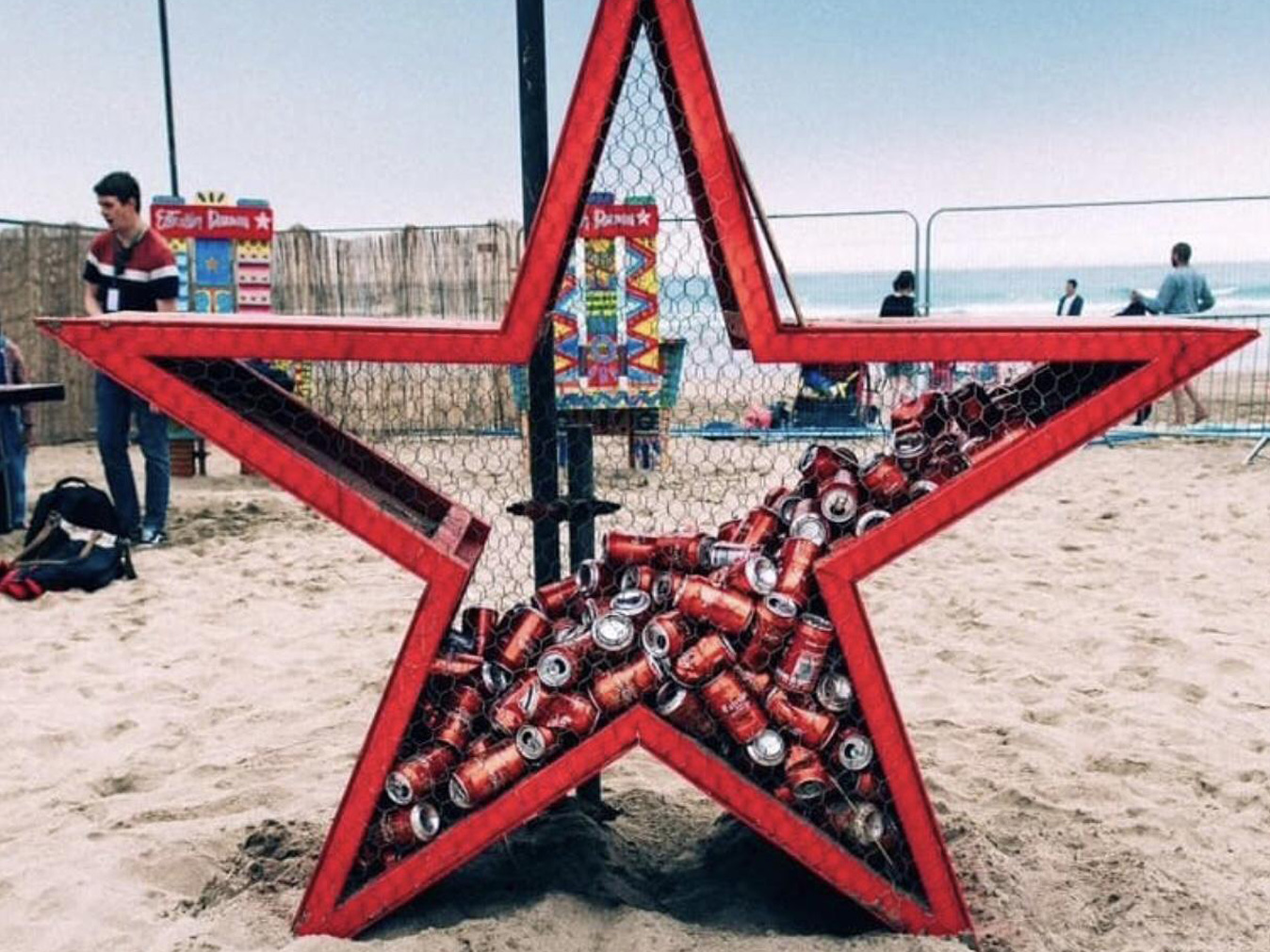 Experiential events Estrella Damm festival recycling posts