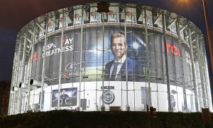 Harry Kane Out of home advertising on the London IMAX at Waterloo