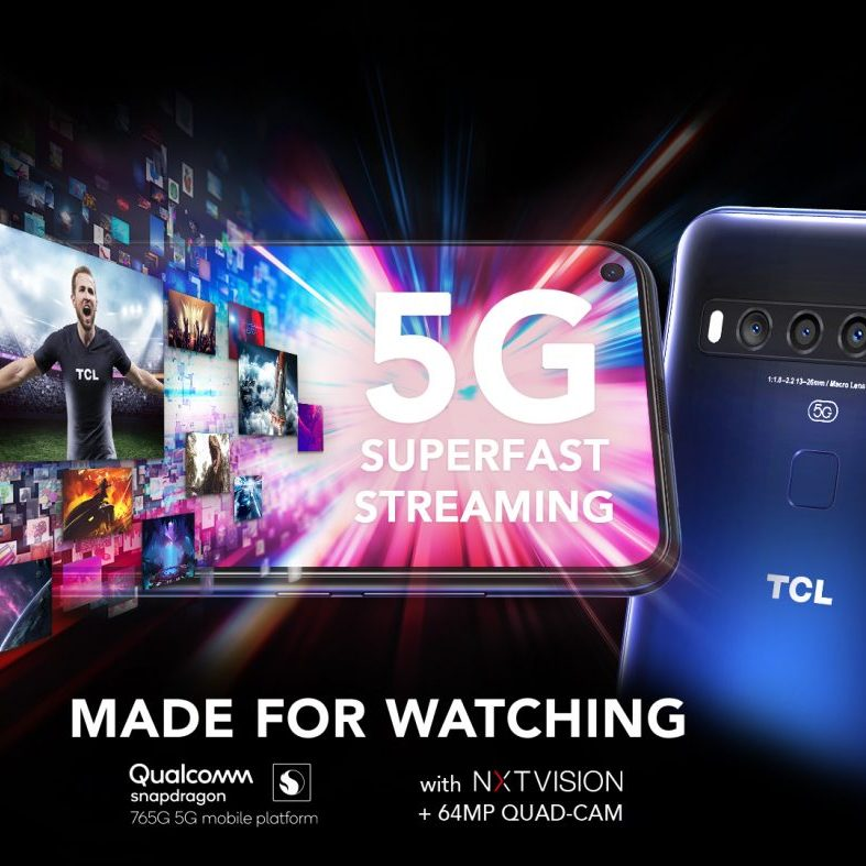 TCL 10 5G poster showing the device, Harry Kane and showing the power of 5G